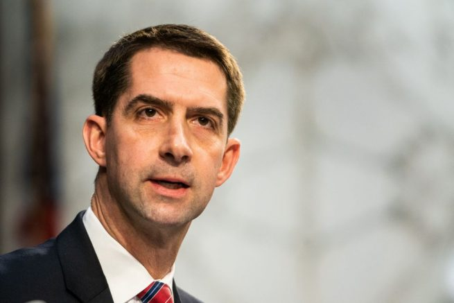 Senator Tom Cotton (R-AR) speaks as Judge Merrick Garland testifies before a Senate Judiciary Committee hearing on his nomination to be US Attorney General on Capitol Hill in Washington, DC on February 22, 2021. (Photo by Demetrius Freeman / POOL / AFP) (Photo by DEMETRIUS FREEMAN/POOL/AFP via Getty Images)