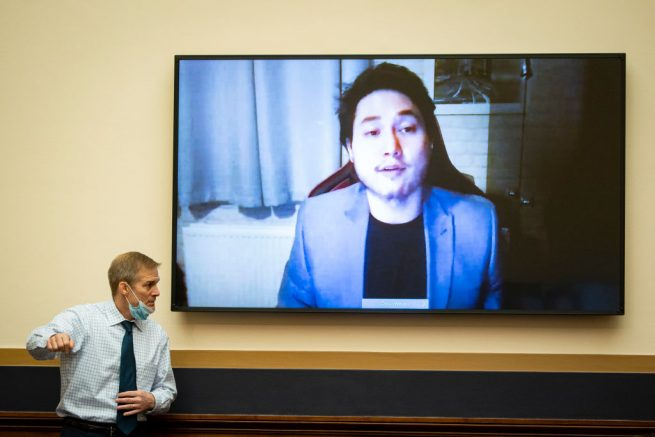 WASHINGTON, DC - FEBRUARY 24: Rep. Jim Jordan (R-OH) signals an aide as Andy Ngo, Editor-at-Large of The Post Millennial, testifies virtually during a House Judiciary subcommittee on Crime, Terrorism, and Homeland Security hearing, on Capitol Hill on February 24, 2021 in Washington, DC. (Photo by Al Drago/Getty Images)