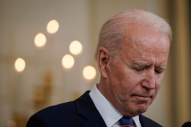 WASHINGTON, DC - APRIL 2: U.S. President Joe Biden pauses while speaking about the March jobs report in the State Dining Room of the White House on April 2, 2021 in Washington, DC. According to the U.S. Labor Department, employers added over 900,000 jobs in March, up from 416,000 in February. (Photo by Drew Angerer/Getty Images)