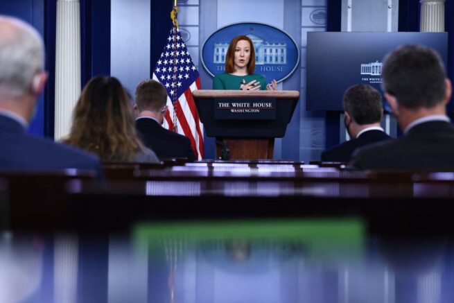 White House Press Secretary Jen Psaki speaks during the daily press briefing on April 6, 2021, in the Brady Briefing Room of the White House in Washington, DC. (Photo by Brendan Smialowski / AFP) (Photo by BRENDAN SMIALOWSKI/AFP via Getty Images)