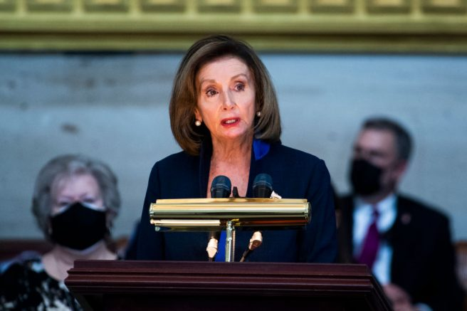 WASHINGTON, DC - APRIL 13: Speaker of the House Nancy Pelosi (D-CA) speaks during the service for U.S. Capitol Officer William Evans as his remains lie in honor in the U.S. Capitol rotunda on April 13, 2021 in Washington, DC. Officer Evans, who was killed in the line of duty during the attack outside the U.S. Capitol on April 2, will lie in honor in the Capitol rotunda today. (Photo by Tom Williams-Pool/Getty Images)