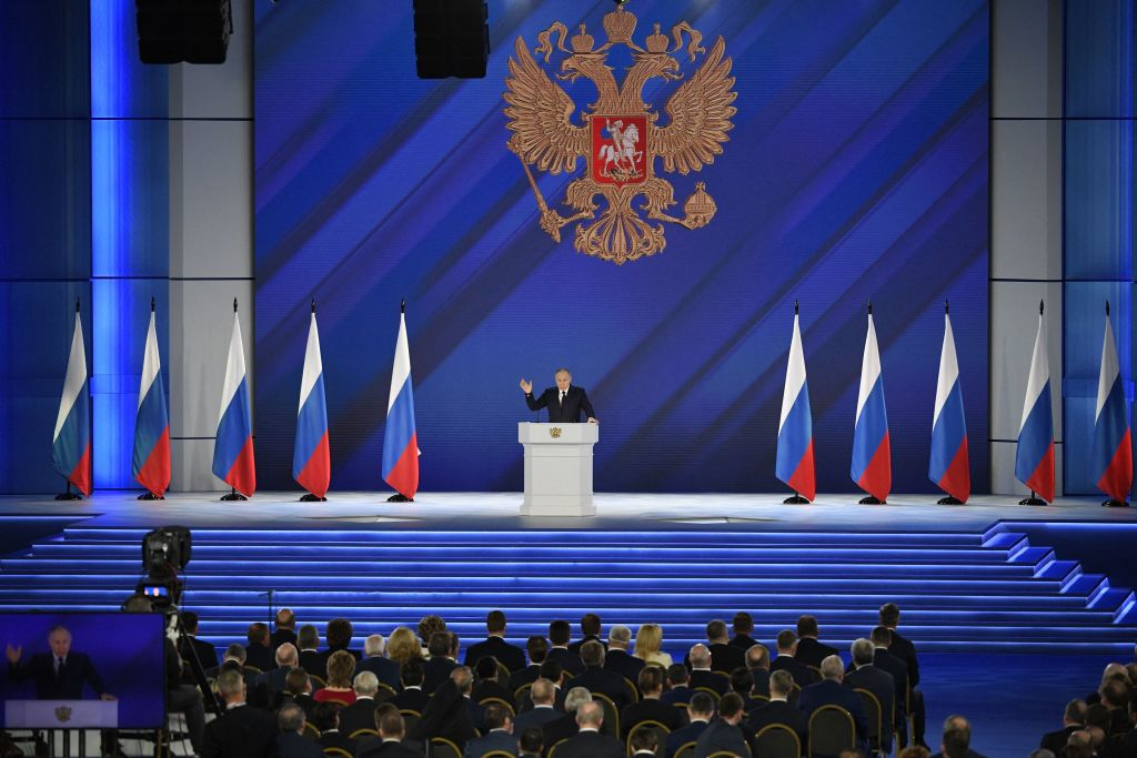 Russian President Vladimir Putin delivers his annual state of the nation address at The Federal Assembly at The Manezh Exhibition Hall in Moscow
