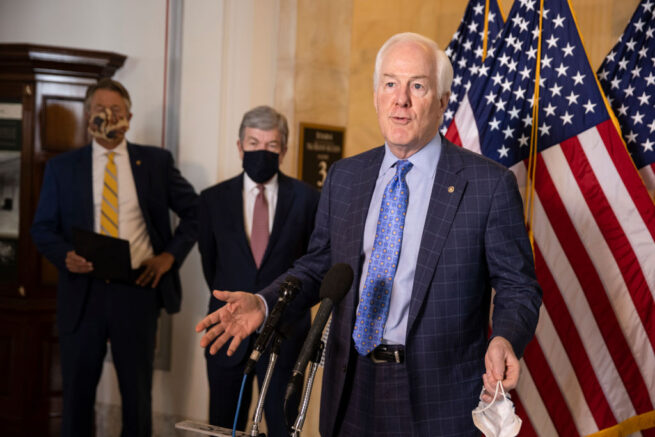 WASHINGTON, DC - MARCH 04: Sen. John Cornyn (R-TX) speaks at a press conference on school reopening during Covid-19 at US Capitol on March 04, 2021 in Washington, DC. The House of Representatives canceled plans to vote today as a precaution after talk surfaced online of possible protest or violent unrest in Washington. (Photo by Tasos Katopodis/Getty Images)