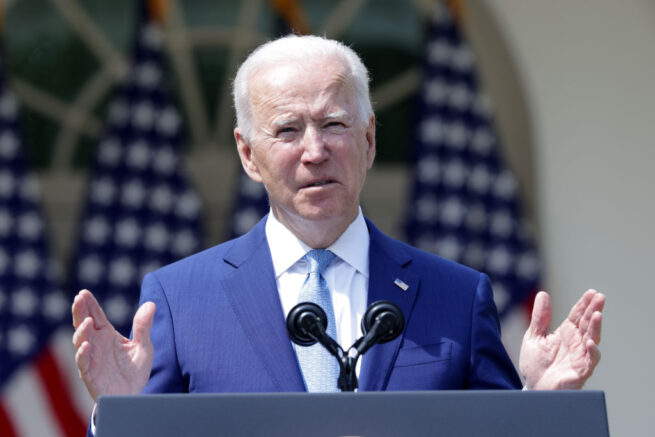 WASHINGTON, DC - APRIL 08: U.S. President Joe Biden speaks during an event on gun control in the Rose Garden at the White House April 8, 2021 in Washington, DC. Biden will sign executive orders to prevent gun violence and announced his pick of David Chipman to head the Bureau of Alcohol, Tobacco, Firearms and Explosives. (Photo by Alex Wong/Getty Images)