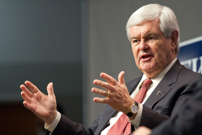 MANCHESTER, NH - JANUARY 04: Republican presidential candidate, former Speaker of the House Newt Gingrich speaks during an interview at the New Hampshire Institute of Politics at Saint Anselm College on January 4, 2012 in Manchester, New Hampshire. After finishing fourth in the Iowa Caucus, Gingrich continued his campaign in New Hampshire for the upcoming primary.  (Photo by Matthew Cavanaugh/Getty Images)