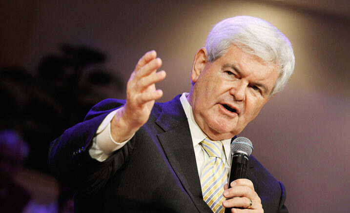 "WINTER PARK, FL - JANUARY 28:  Republican presidential candidate, former Speaker of the House Newt Gingrich (R-GA) speaks during the Orange County Liberty Counsel Forum at Aloma Baptist Church January 28, 2012 in Winter Park, Florida. Gingrich and fellow candidate, former Massachusetts Gov. Mitt Romney are furiously campaigning across Florida before next Tuesday's GOP primary. Gingrich predicted Saturday, ""If we win Florida, I will be the nominee.""  (Photo by Chip Somodevilla/Getty Images)"