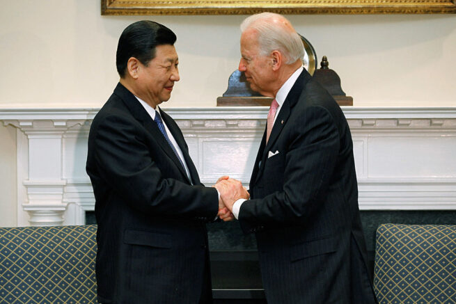 WASHINGTON, DC - FEBRUARY 14:   (AFP OUT) U.S. Vice President Joe Biden (R) and Chinese Vice President Xi Jinping shake hands before an expanded bilateral meeting with other U.S. and Chinese officials in the Roosevelt Room at the White House February 14, 2012 in Washington, DC. While in Washington, Vice President Xi will meet with Biden, President Barack Obama and other senior Administration officials to discuss a broad range of bilateral, regional, and global issues.  (Photo by Chip Somodevilla/Getty Images)