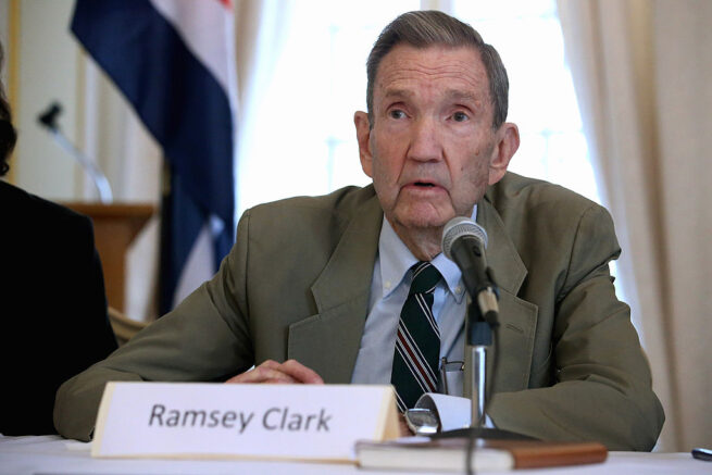 WASHINGTON, DC - SEPTEMBER 17: Former U.S. Attorney General Ramsey Clark (R) speaks during a news conference about the Cuban Five at the Cuban Interests Section September 17, 2012 in Washington, DC. Hailed as national heroes in Cuba, the five Cuban intelligence officers were convicted in 2001 of conspiracy to commit espionage, conspiracy to commit murder, acting as as an agent of a foreign government and other illegal activities in the United States. Clark voiced his support for a motion filed by one of the agent's lawyers in the U.S. Southern District Court of Florida, seeking an evidentiary hearing and the right to discovery. The affidavit clamis that the US government spent millions of dollars paying print, television and radio journalists to publish stories and air programs about the Cuban Five in an attempt to use misinformation to contaminate the jury and convict the five. (Photo by Chip Somodevilla/Getty Images)