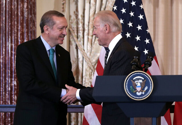 WASHINGTON, DC - MAY 16: U.S. Vice President Joseph Biden (R) shakes hands with Prime Minister of Turkey Recep Tayyip Erdogan (L) during a luncheon at the State Department May 16, 2013 in Washington, DC. Prime Minister Erdogan was on a visit in Washington and had talks on Syria with U.S. President Barack Obama. (Photo by Alex Wong/Getty Images)