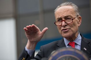 NEW YORK, NY - MAY 15: U.S. Senator Charles Schumer (D-NY) speaks at a press conference outside New York Penn Station calling for a greater funding and safety for U.S. railways on May 15, 2015 in New York City. The four point plan comes on the heels of an Amtrak train accident outside Philadelphia that killed 8 people and