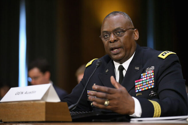 WASHINGTON, DC - SEPTEMBER 16: Gen. Lloyd Austin III, commander of U.S. Central Command, testifies before the Senate Armed Services Committee about the ongoing U.S. military operations to counter the Islamic State in Iraq and the Levant (ISIL) during a hearing in the Dirksen Senate Office Building on Capitol Hill September 16, 2015 in Washington, DC. Austin said that slow progress was still being made against ISIL but there have been setbacks, including the ambush of U.S.-trained fighters in Syria and the buildup of Russian forces in the country. (Photo by Chip Somodevilla/Getty Images)