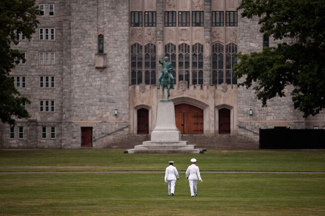 WEST POINT, NY - JUNE 27: Cadets walk across 'The Plain' before the Oath of Allegiance ceremony during Reception Day at the United States Military Academy at West Point, June 27, 2016 in West Point, New York. Reception Day is the day when new cadets report to West Point to begin the process of becoming West Point cadets and future U.S. Army officers. Upwards of 1,300 cadet candidates for the class of 2020 will report to West Point on Monday. The new cadets will begin six weeks of basic training before Acceptance Day in early August. (Photo by Drew Angerer/Getty Images)