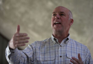 GREAT FALLS, MT - MAY 23: Republican congressional candidate Greg Gianforte speaks to supporters during a campaign meet and greet at Lions Park on May 23, 2017 in Great Falls, Montana. Greg Gianforte is campaigning throughout Montana ahead of a May 25 special election to fill Montana's single congressional seat. Gianforte is in a tight race against democrat Rob Quist. (Photo by Justin Sullivan/Getty Images)