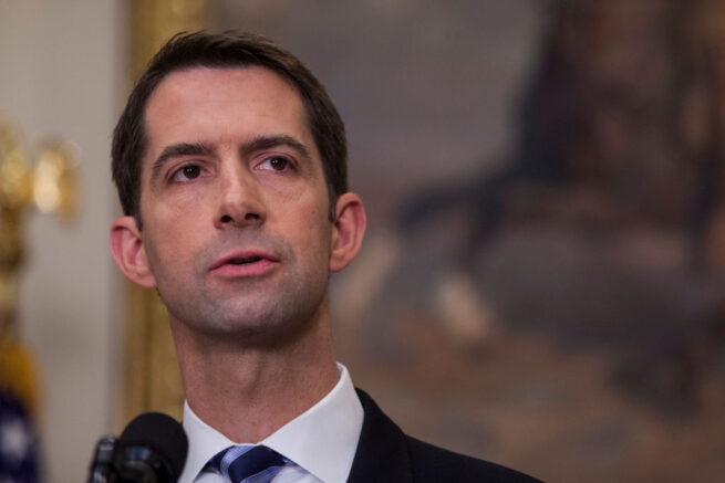 "WASHINGTON, DC - AUGUST 2: (AFP OUT) Sen. Tom Cotton (R-AR) makes an announcement on the introduction of the Reforming American Immigration for a Strong Economy (RAISE) Act in the Roosevelt Room at the White House on August 2, 2017 in Washington, DC. The act aims to overhaul U.S. immigration by moving towards a ""merit-based"" system. (Photo by Zach Gibson - Pool/Getty Images)"