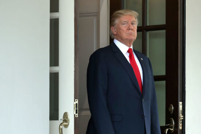 WASHINGTON, DC - AUGUST 28: U.S. President Donald Trump awaits the arrival of Finnish President Sauli Niinisto to the White House August 28, 2017 in Washington, DC. The two leaders are expected to discuss security in the Baltic Sea region, Russia and NATO during the meeting, the first between Niinisto and Trump and the first one-on-one White House meeting between a Finnish and an American president in 15 years. (Photo by Chip Somodevilla/Getty Images)