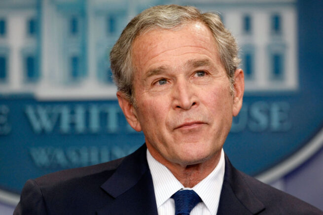 WASHINGTON - JANUARY 12:  U.S. President George W. Bush holds a news conference in the Brady Press Briefing Room at the White House January 12, 2009 in Washington, DC. Bush spent nearly an hour fielding questions during his last news conference as president of the United States before President-elect Barack Obama is sworn in on January 20.  (Photo by Chip Somodevilla/Getty Images)