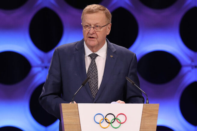 LIMA, PERU - SEPTEMBER 13: IOC Vice President John Coates gives a report about the tripartite agreement which awards Paris and Los Angeles with the next Olympics of 2024 and 2028 during the 131th IOC Session - 2024 & 2028 Olympics Hosts Announcement at Lima Convention Centre on September 13, 2017 in Lima, Peru. (Photo by Buda Mendes/Getty Images)