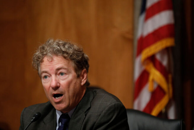 WASHINGTON, DC - JUNE 6: Sen. Rand Paul (R-KY) speaks during a Federal Spending Oversight And Emergency Management Subcommittee hearing June 6, 2018 on Capitol Hill in Washington, DC. Members of both parties raised questions about a lack of Congressional oversight of military deployments overseas. (Photo by Aaron P. Bernstein/Getty Images)