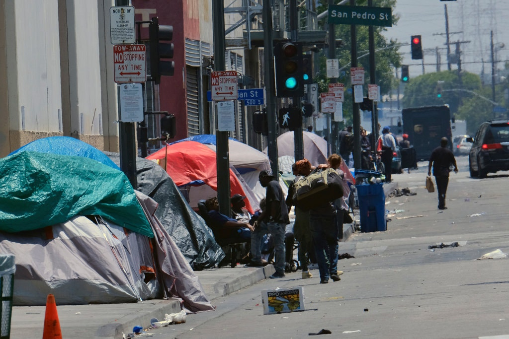 The number of homeless people in Los Angeles jumped over the past year.Credit...Richard Vogel/Associated Press