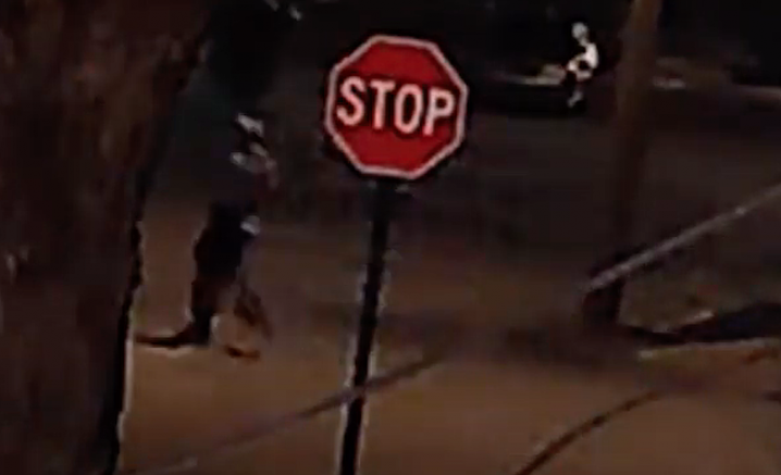 A suspect in four stabbings is shown in this screenshot of video provided by the Little Rock Police Department.