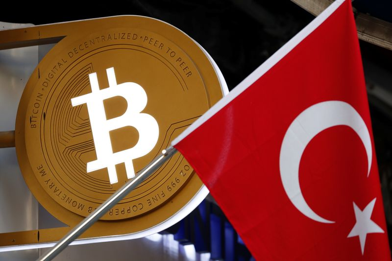 FILE PHOTO: A bitcoin logo is seen next to Turkish flag at a cryptocurrency exchange shop in Istanbul