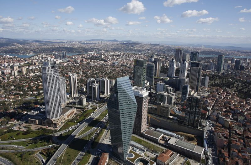 FILE PHOTO: Istanbul's financial district, the Levent district, which comprises of leading Turkish companies' headquarters and popular shopping malls, is seen from the Sapphire Tower in Istanbul