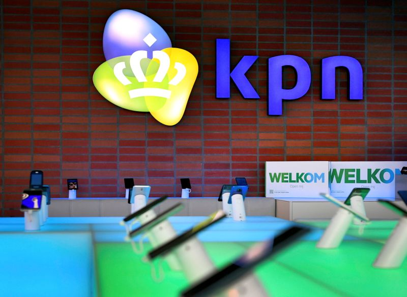 FILE PHOTO: The KPN logo is seen at the telecoms company's headquarters in Rotterdam