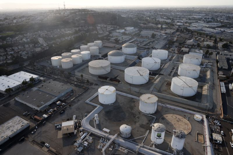 FILE PHOTO: Oil storage containers are seen, amid the coronavirus disease (COVID-19) pandemic, in Los Angeles
