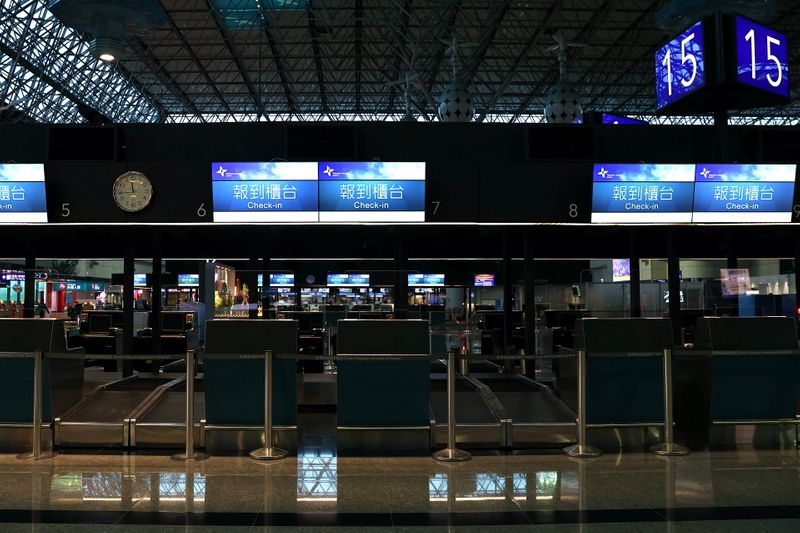 View of the empty departure hall at the Taiwan Taoyuan International Airport