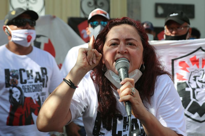 FILE PHOTO: Mexican labor lawyer Susana Prieto leads a demonstration with supporters and workers outside an office of the Chihuahua state government in Mexico City