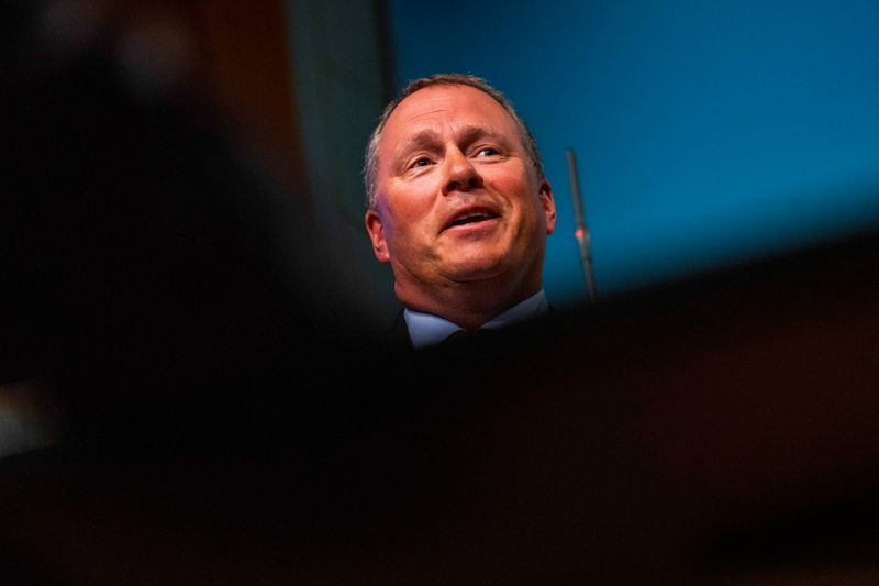 FILE PHOTO: Nicolai Tangen speaks during a press conference, in Oslo