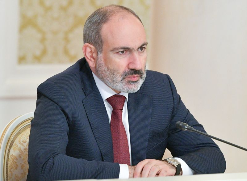 FILE PHOTO: Armenia's acting Prime Minister Nikol Pashinyan attends a meeting with Russia's Prime Minister Mikhail Mishustin in Kazan