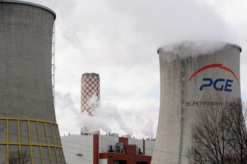 FILE PHOTO: View of cooling towers at Turow Power Station which Green Peace activists have climbed in Bogatynia