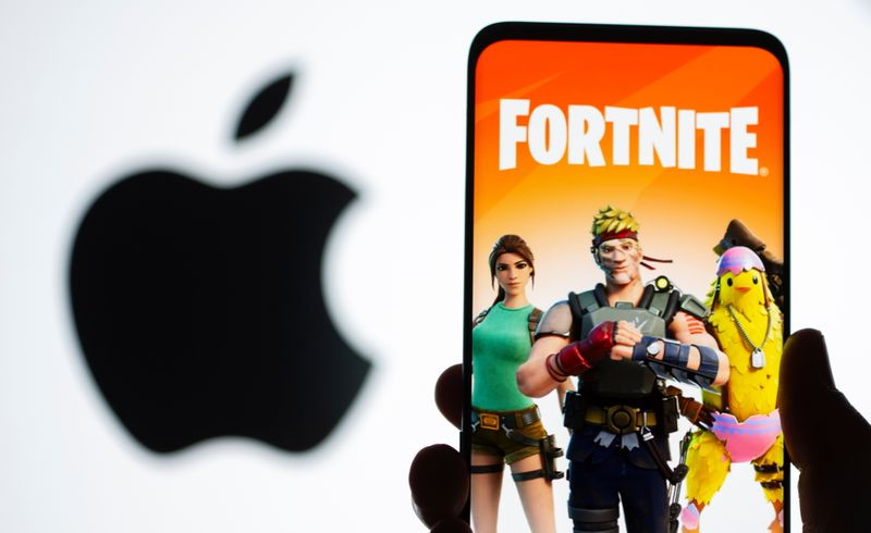 Fortnite graphic and Apple logo displayed in illustration