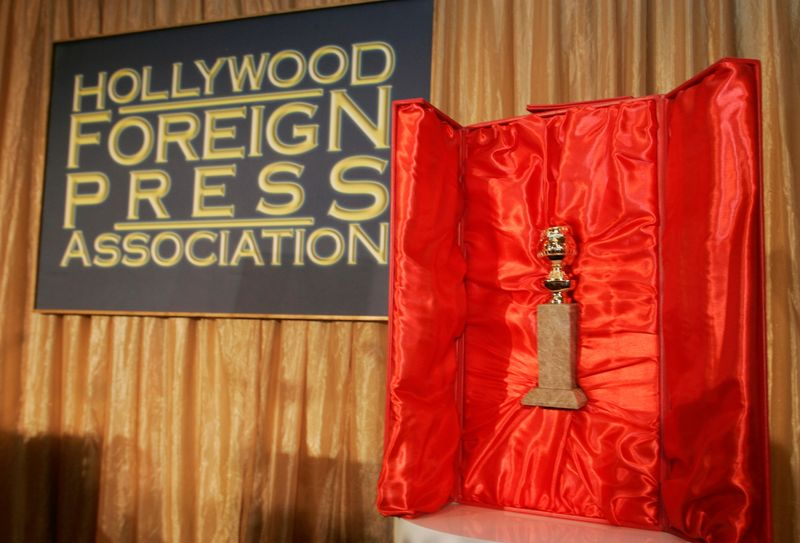 FILE PHOTO: The Hollywood Foreign Press Association's Golden Globe statuette is seen with its red velvet-lined, leather-bound chest during a news conference in Beverly Hills, California