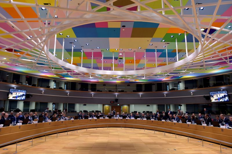 FILE PHOTO: Picture showing the room during a meeting of European Union defence ministers at the EU Council in Brussels