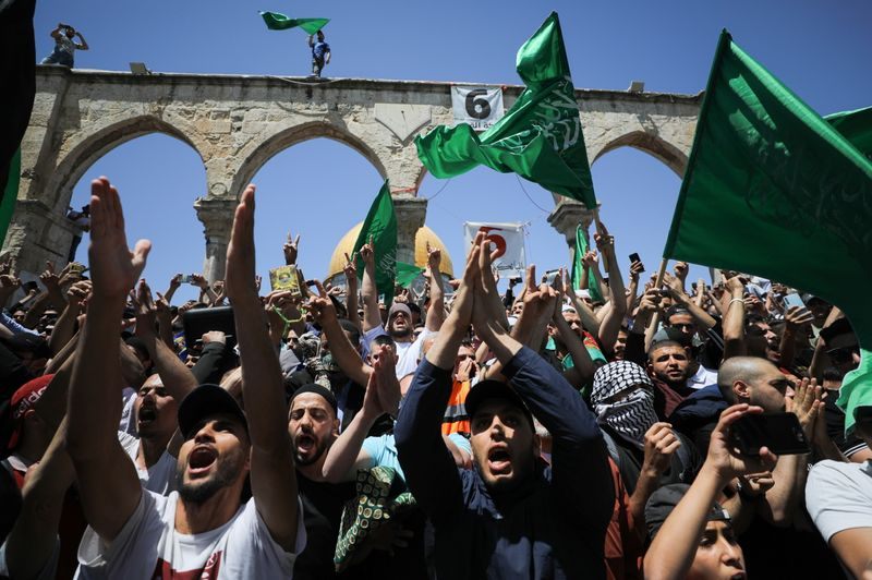 FILE PHOTO: Protest over the possible eviction of several Palestinian families in the Sheikh Jarrah neighbourhood