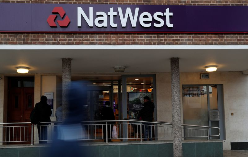 The logo of NatWest Bank, part of the Royal Bank of Scotland group is seen outside a branch in London