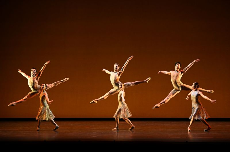 The Royal Ballet rehearse ahead of performing the