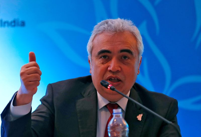 FILE PHOTO: Fatih Birol, Executive Director of the International Energy Agency, speaks with the media during International Energy Forum in New Delhi