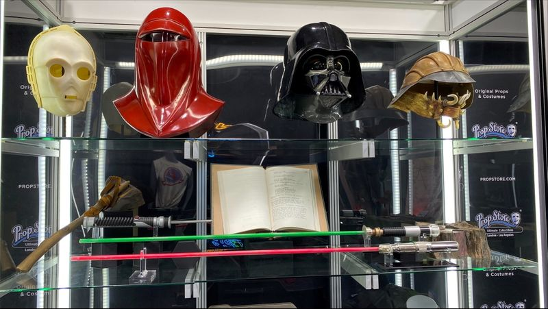 Props from the Star Wars movie franchise, set to be auctioned in June, are displayed at Prop Store, in Santa Clarita, California