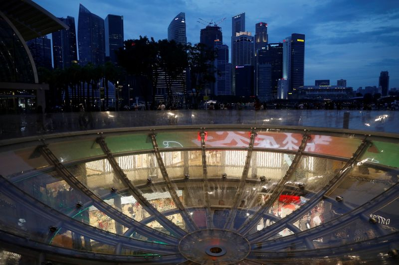 A view of the city skyline in Singapore