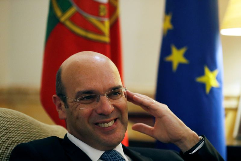FILE PHOTO: Portugal's Economy minister Pedro Siza Vieira speaks during an interview with Reuters in Lisbon