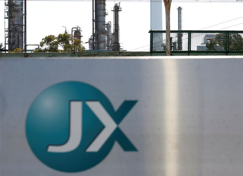 FILE PHOTO: JX Nippon Oil & Energy Corp's logo is seen at its refinery in Yokohama