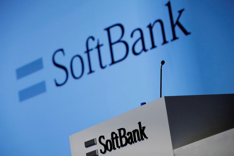 FILE PHOTO: SoftBank Corp's logo is pictured at a news conference in Tokyo