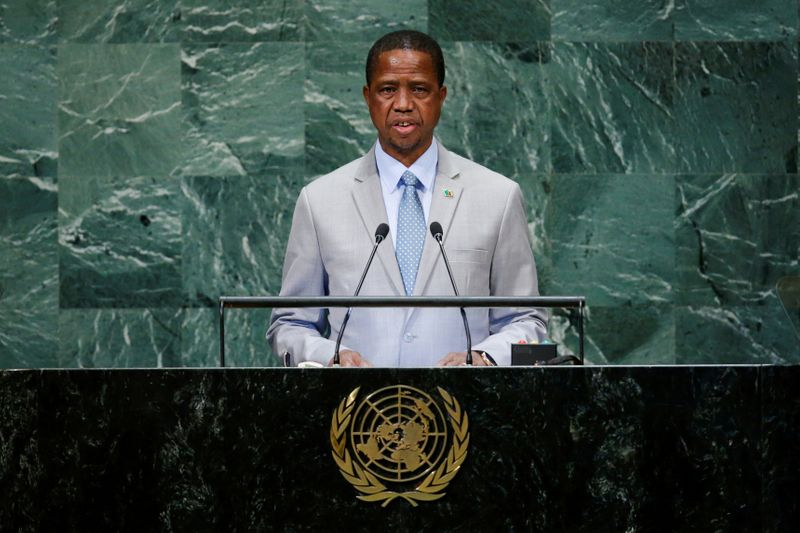 FILE PHOTO: Zambia's President Chagwa Lungu addresses the United Nations General Assembly in New York