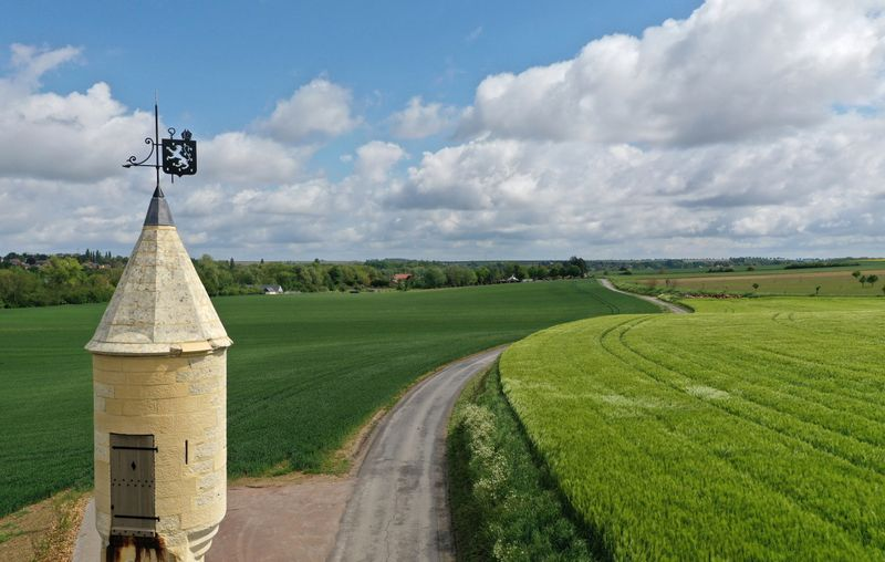 An aerial view shows the Echauguette tower and a green wheat field in Les Rues-Des-Vignes