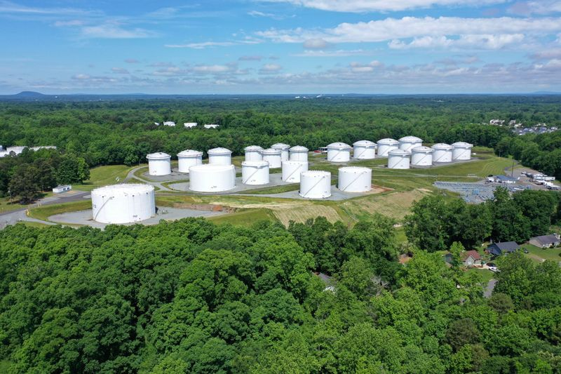 Holding tanks are seen in an aerial photograph at Colonial Pipeline's Charlotte Tank Farm