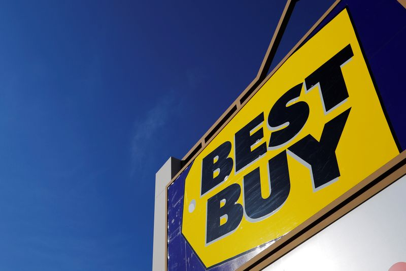 A sign marks a Best Buy store in Salem