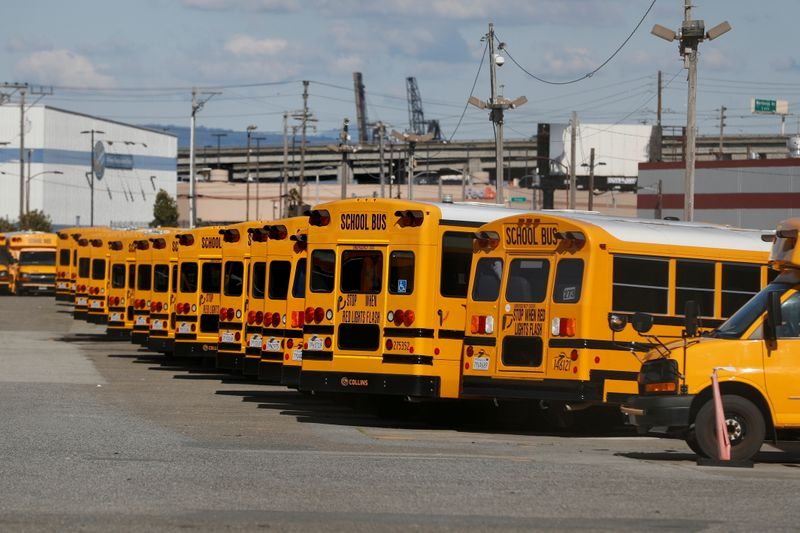 FILE PHOTO: First Student school buses parked in San Francisco